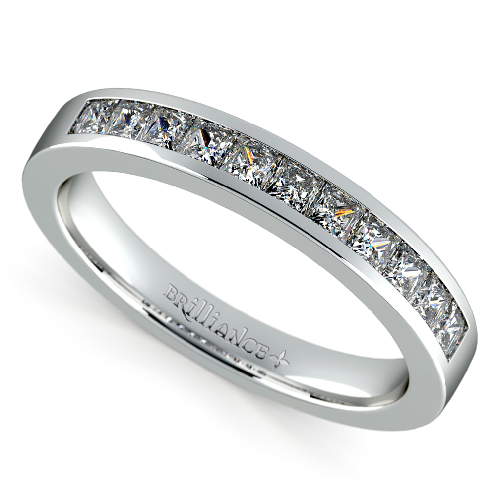 Princess Channel Diamond Wedding Ring In White Gold (1/2 Ctw) Throughout Current Princess Cut Single Diamond Wedding Bands In Yellow Gold (View 16 of 25)