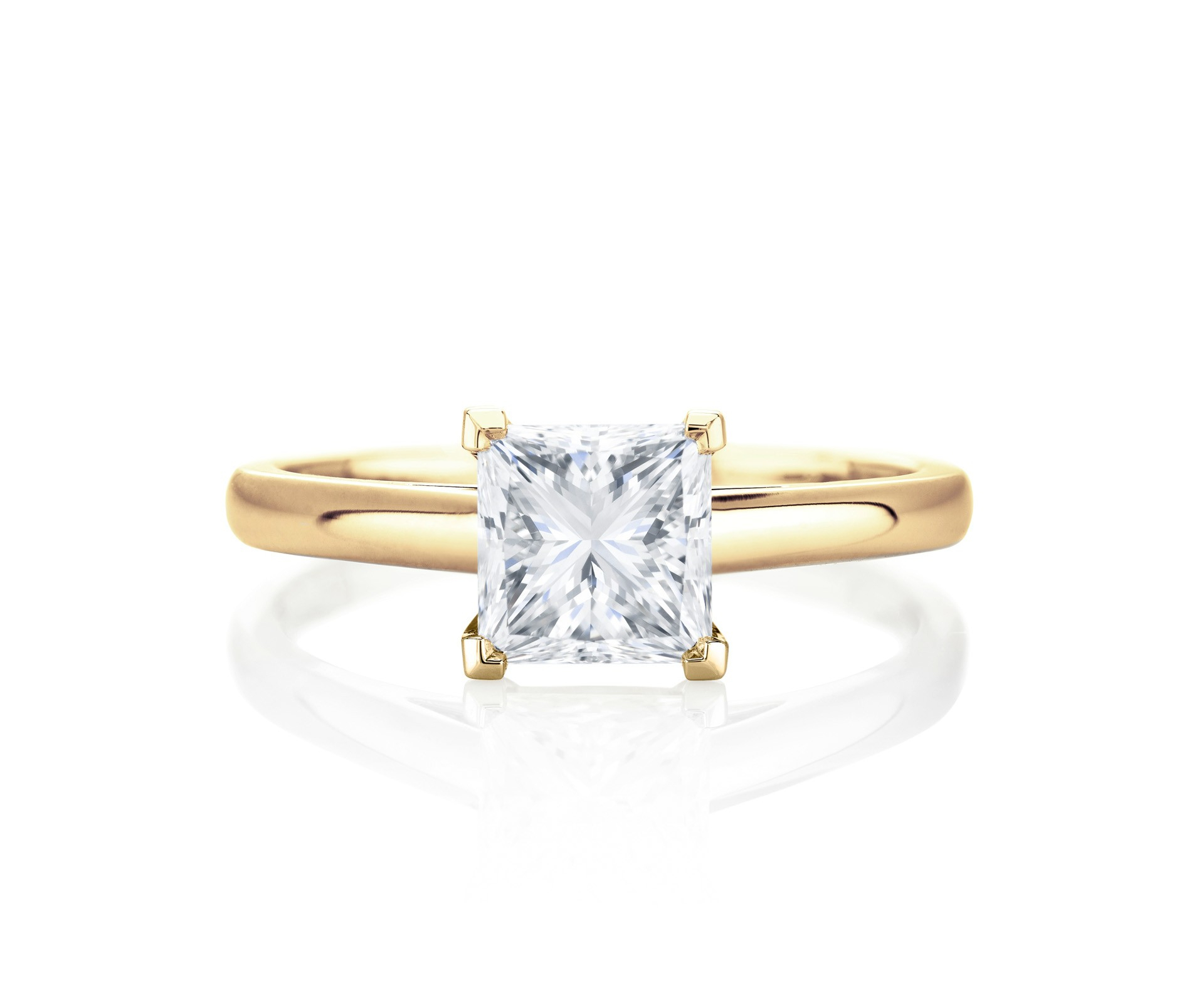 Princess Cut Diamond Engagement Rings | De Beers In Most Recent Princess Cut Single Diamond Wedding Bands In Yellow Gold (View 8 of 25)