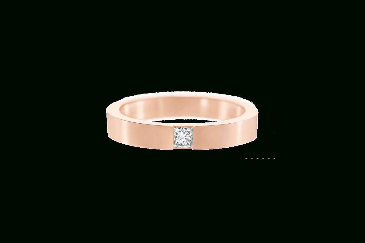 Featured Photo of Princess Cut Single Diamond Wedding Bands In Rose Gold
