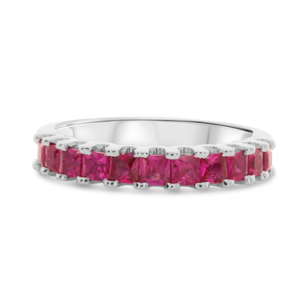Princess Cut Ruby Half Pave Ring – R+J Intended For Oval Shaped Ruby Micropavé Rings (View 21 of 25)
