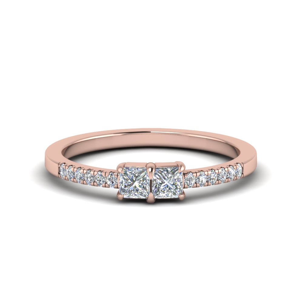 Princess Cut Simple Two Stone Ring For Women Intended For Most Recent Princess Cut Single Diamond Wedding Bands In Rose Gold (View 17 of 25)