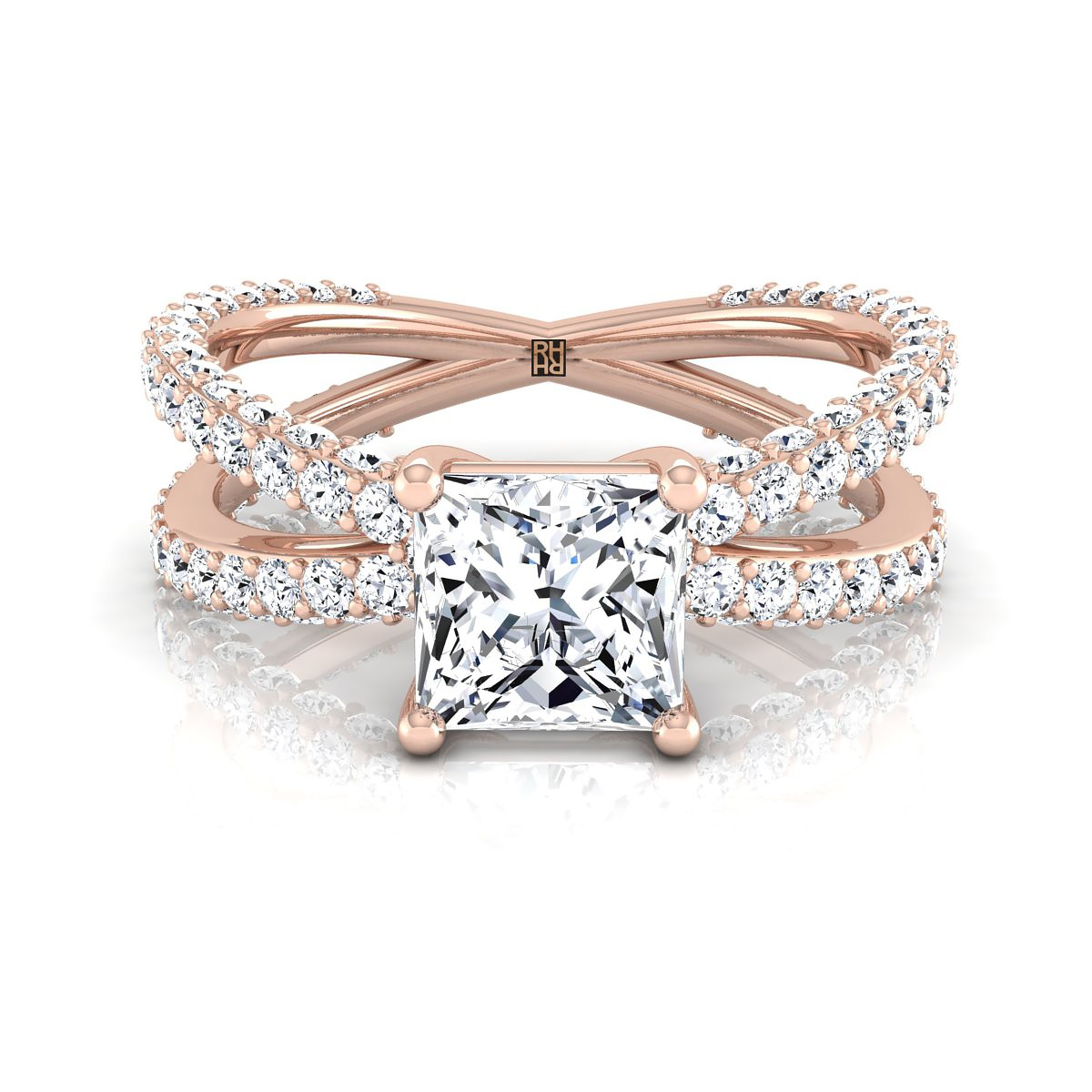 Princess Diamond Crossover Engagement Ring Rose Gold Wedding In 2017 Princess Cut Single Diamond Wedding Bands In Rose Gold (View 18 of 25)
