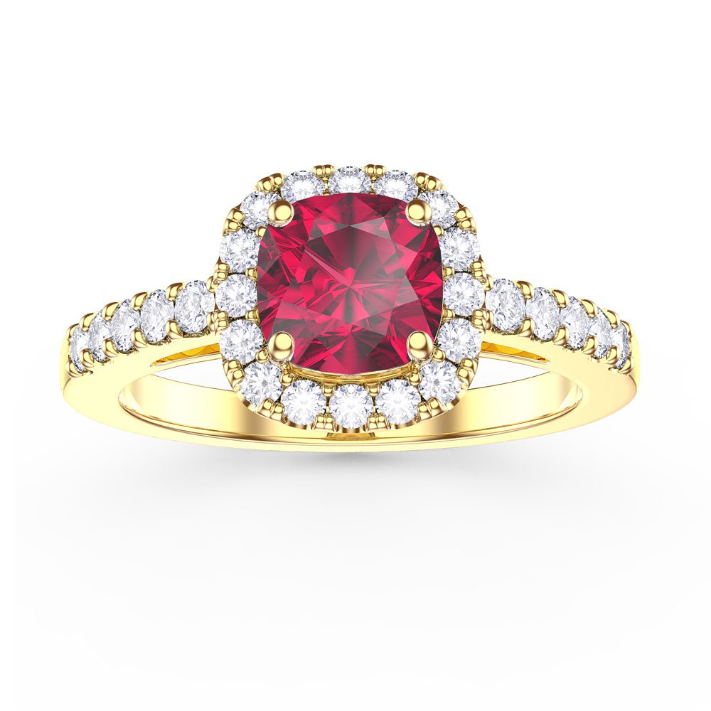 Princess Ruby And Diamond Cushion Cut Halo 18ct Yellow Gold Engagement Ring With Regard To Cushion Cut Ruby Rings (View 9 of 25)