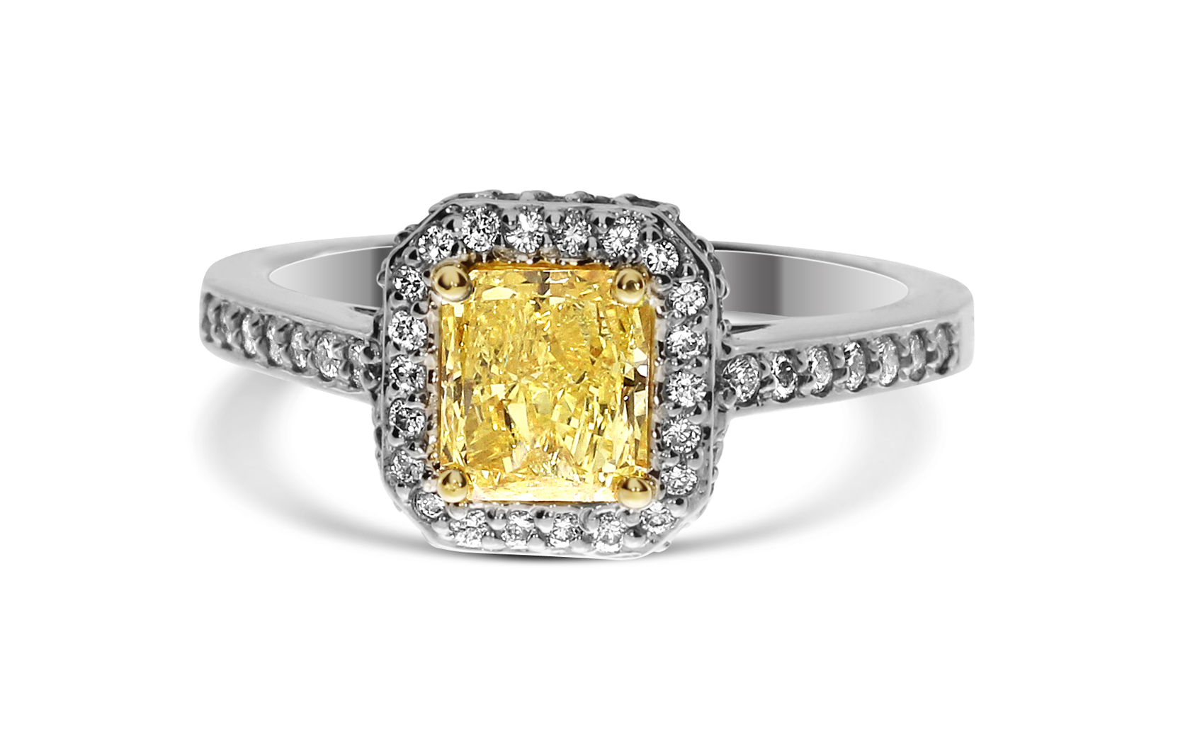 Radiant Cut Fiy Color 18k White Gold Yellow Diamond Ring Inside Radiant Yellow Diamond Rings (View 19 of 25)