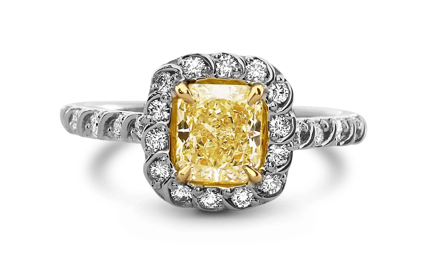 Radiant Cut Fly Color 18k White Gold Yellow Diamond Ring Regarding Radiant Yellow Diamond Rings (View 16 of 25)