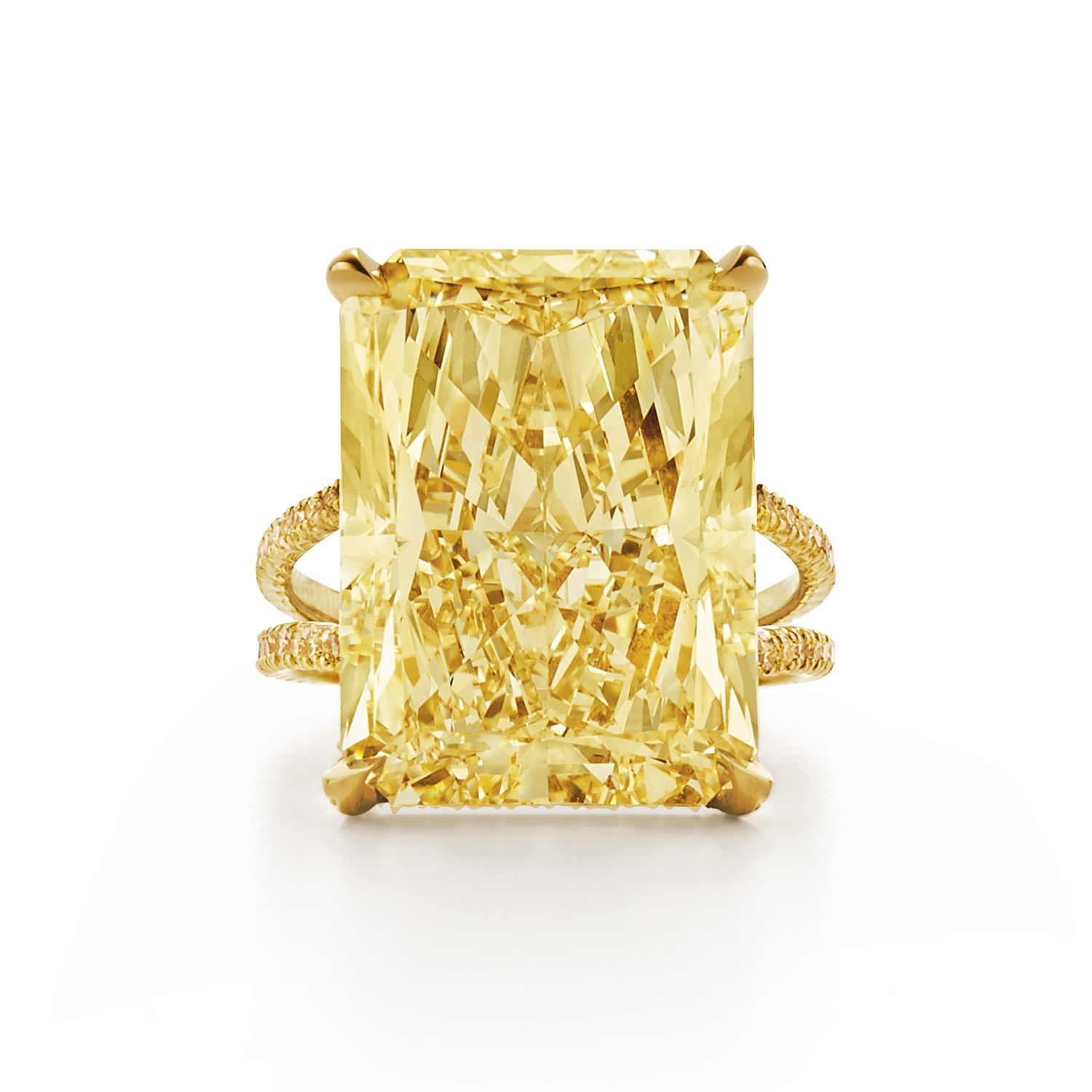 Radiant Fancy Yellow Diamond Ring With Split Yellow Diamond Intended For Radiant Yellow Diamond Rings (View 23 of 25)