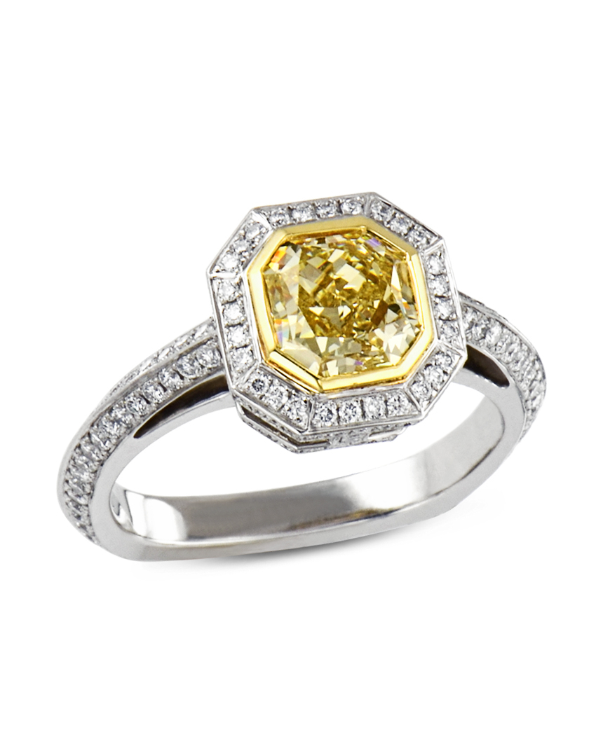 Radiant Yellow Diamond Halo Engagement Ring In Radiant Yellow Diamond Rings (View 6 of 25)