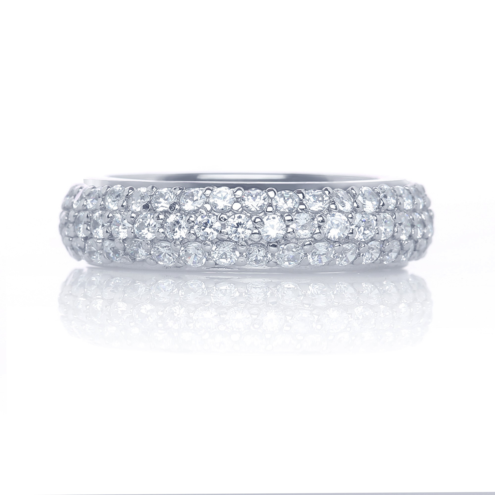 Rhodium Plated 925 Sterling Silver 3 Row Pave Cubic Zirconia With Regard To Current Triple Row Micropavé Diamond Wedding Bands (View 15 of 25)