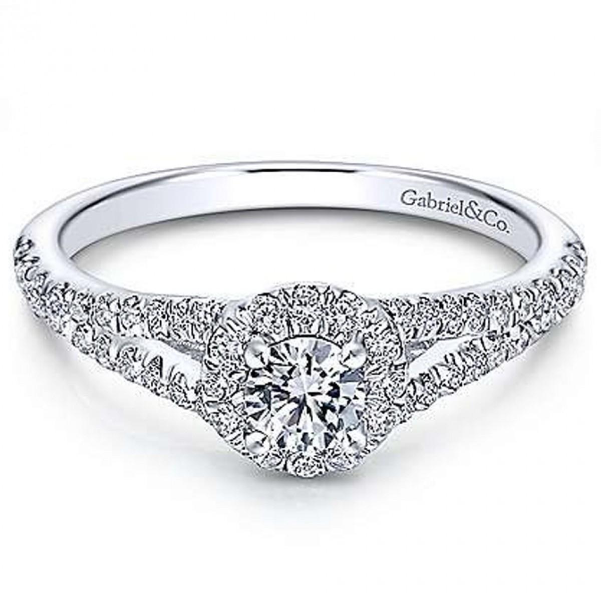 Ribbon 14K White Gold Preset Split Shank Halo Round Diamond Engagement Ring  (0.62 Ct. Tw (View 15 of 25)