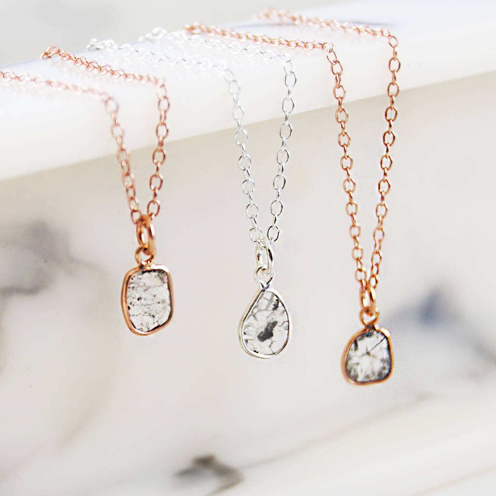 Rose Gold And Silver Small Diamond Slice Necklace With Regard To 2019 Small Diamond Necklaces (View 13 of 25)
