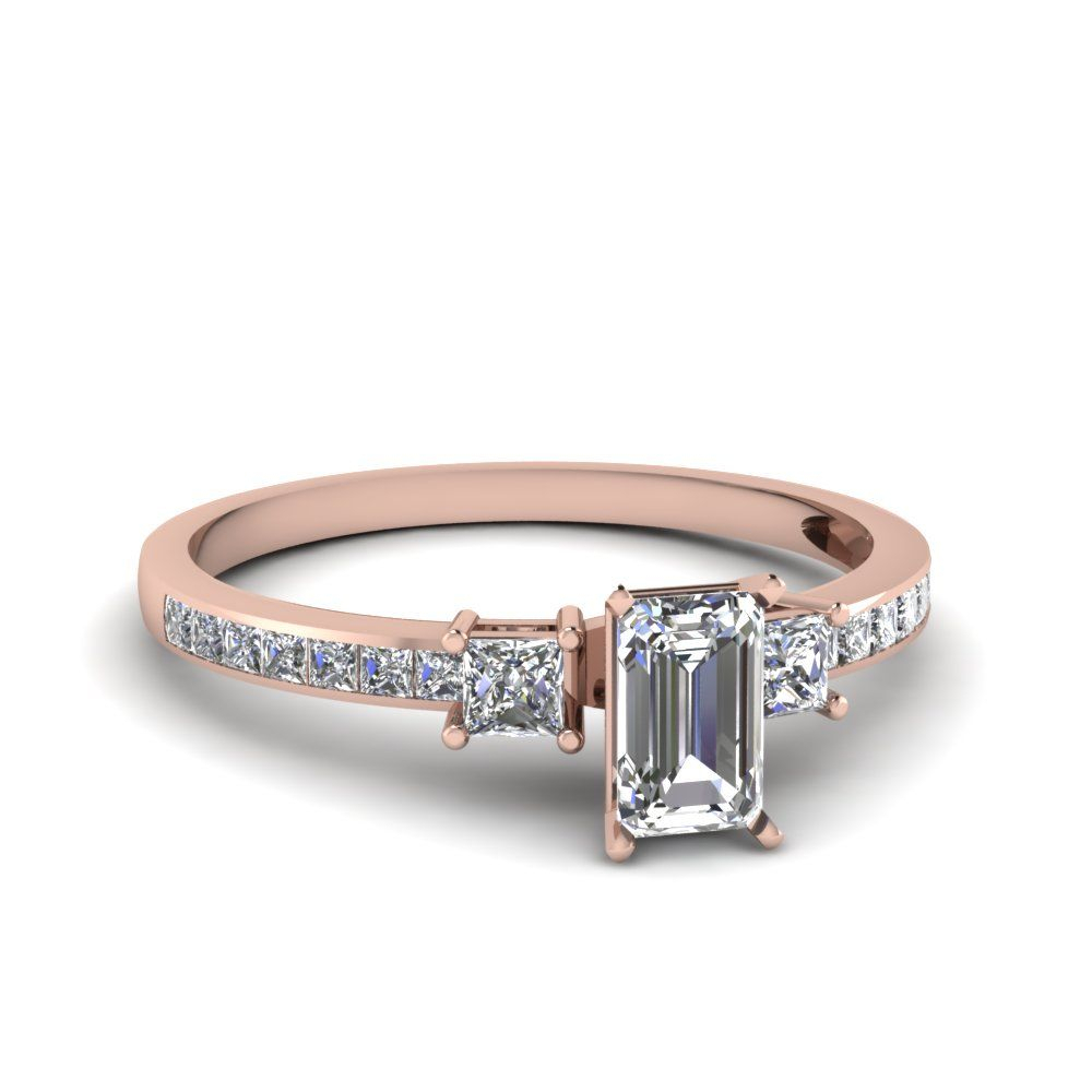 Rose Gold Emerald White Diamond Engagement Wedding Ring In With Regard To 2017 Prong Set Emerald Cut Diamond Wedding Bands (View 19 of 25)