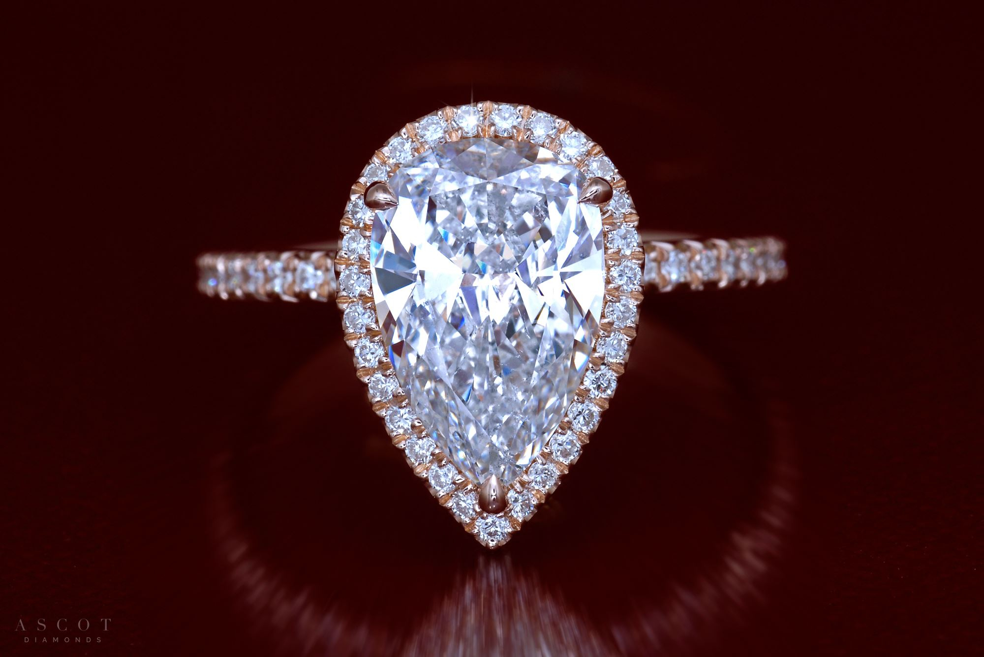 Rose Gold Three Carat Pear Shaped Diamond Engagement Ring Throughout Tryst Pear Shaped Diamond Engagement Rings (View 5 of 25)