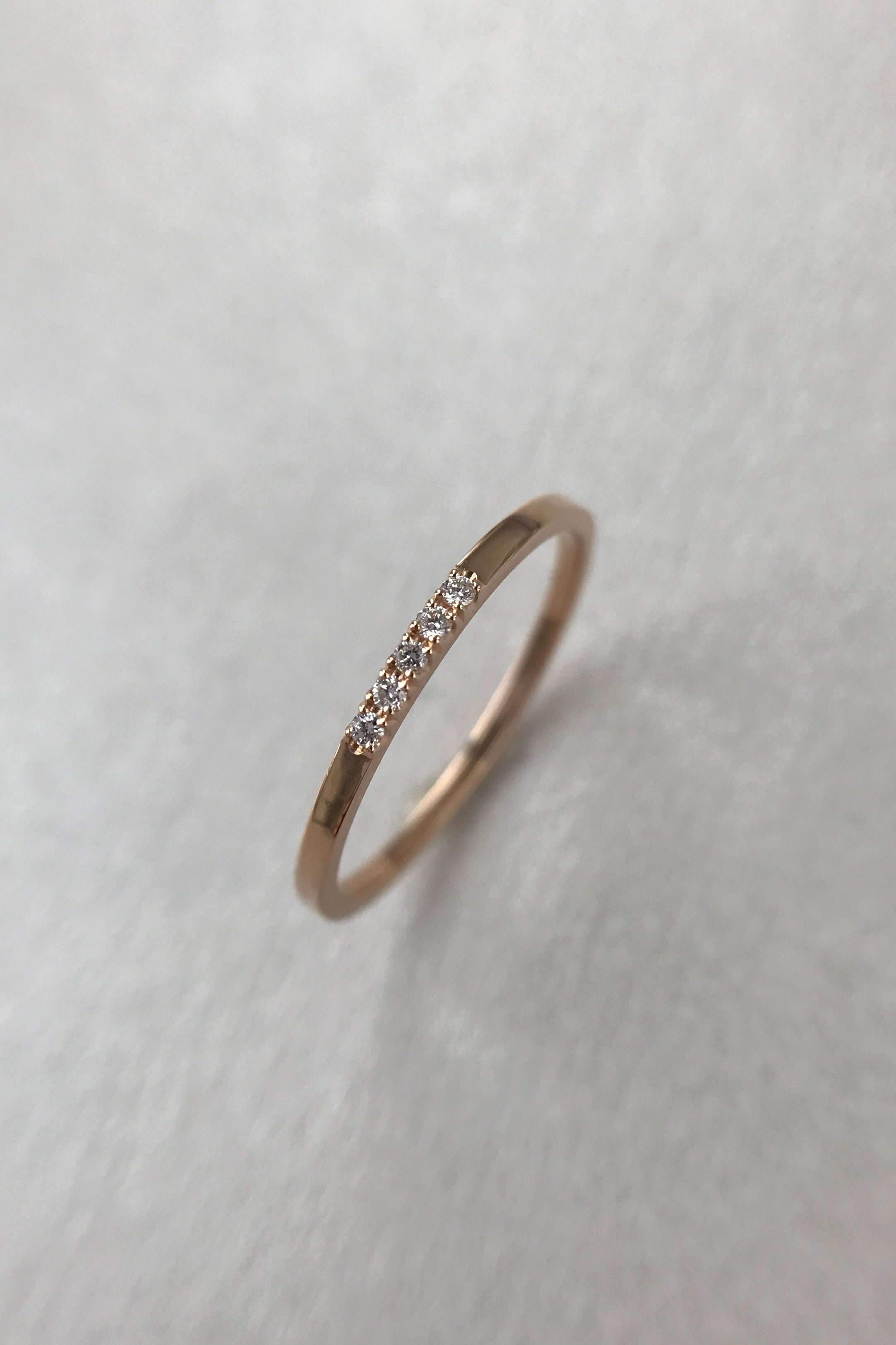 Rose Gold Wedding Band Women, 5 Stone Diamond Ring, Stacking With Newest Micropavé Diamond Narrow Wedding Bands (View 22 of 25)