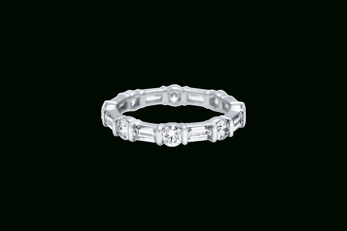 Round And Emerald Cut Diamond Band | Harry Winston Pertaining To Most Up To Date Bar Set Round Brilliant And Emerald Cut Diamond Wedding Bands (View 2 of 25)