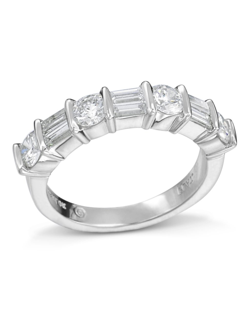 Round And Emerald Cut Diamond Band – Turgeon Raine Pertaining To Newest Bar Set Round Brilliant And Emerald Cut Diamond Wedding Bands (View 19 of 25)
