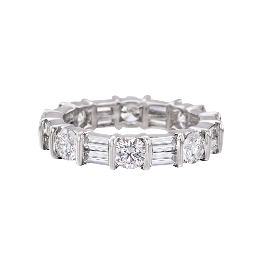 Round & Baguette Diamond Eternity Band (~3 Ct Tw) | Betteridge Intended For Latest Bar Set Round Brilliant And Emerald Cut Diamond Wedding Bands (View 17 of 25)