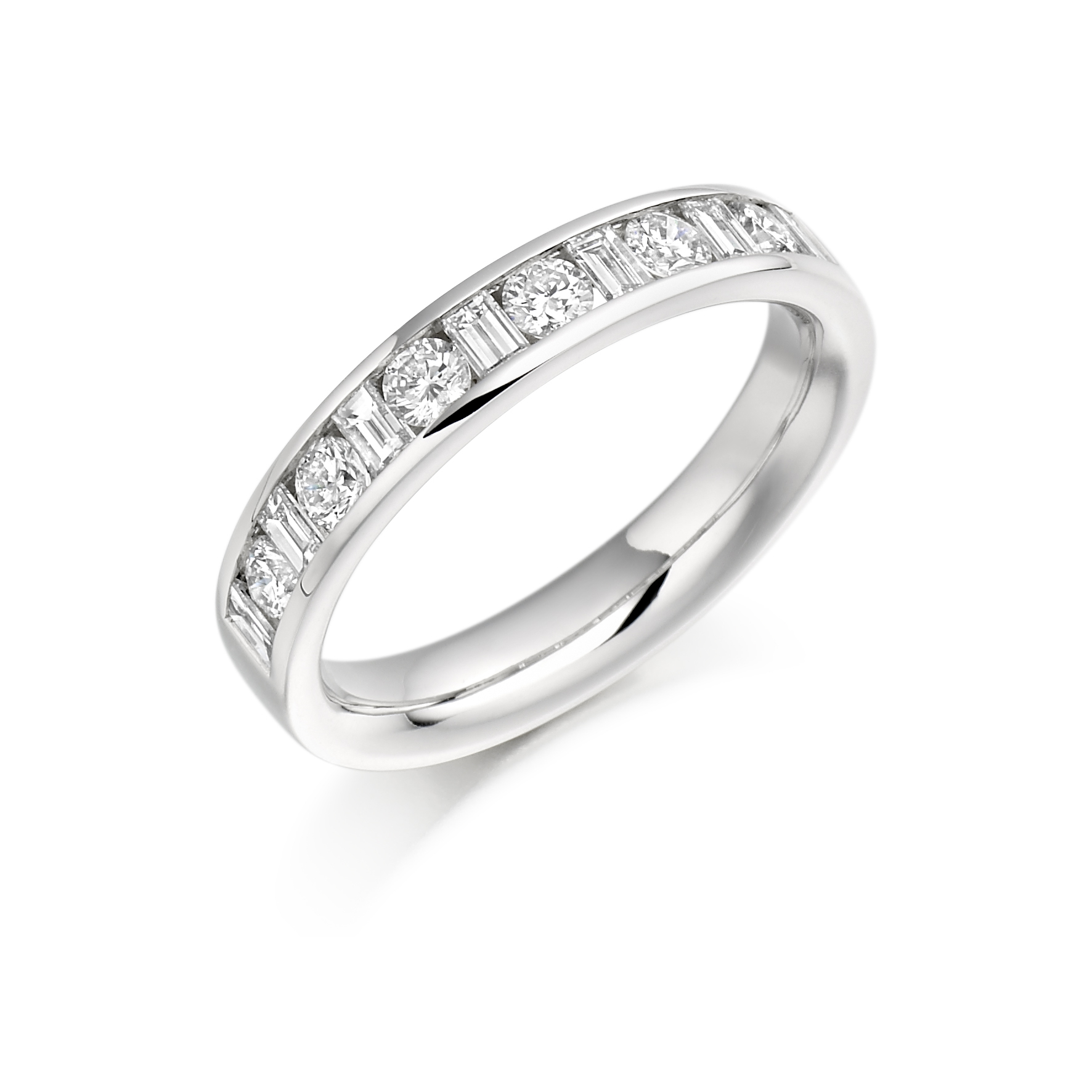 Round Brilliant & Baguette Cut Channel Set Half Eternity In Best And Newest Channel Set Round Brilliant And Baguette Cut Diamond Wedding Bands (View 22 of 25)