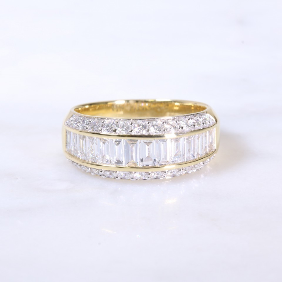 Round Brilliant & Baguette Diamond Channel Set Eternity Ring Intended For 2017 Channel Set Round Brilliant And Baguette Cut Diamond Wedding Bands (View 23 of 25)