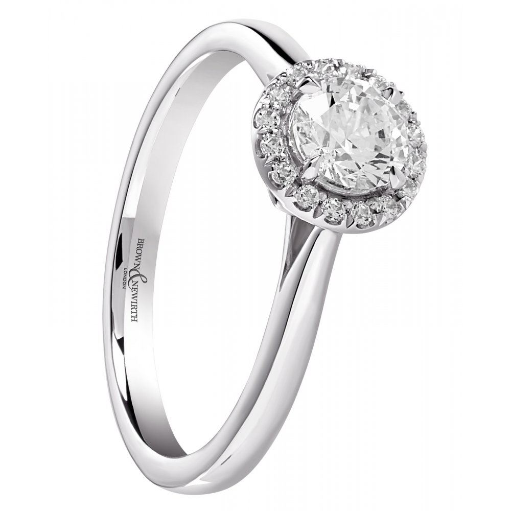 Round Brilliant Cut Diamond Halo Engagement Ring – (View 13 of 25)
