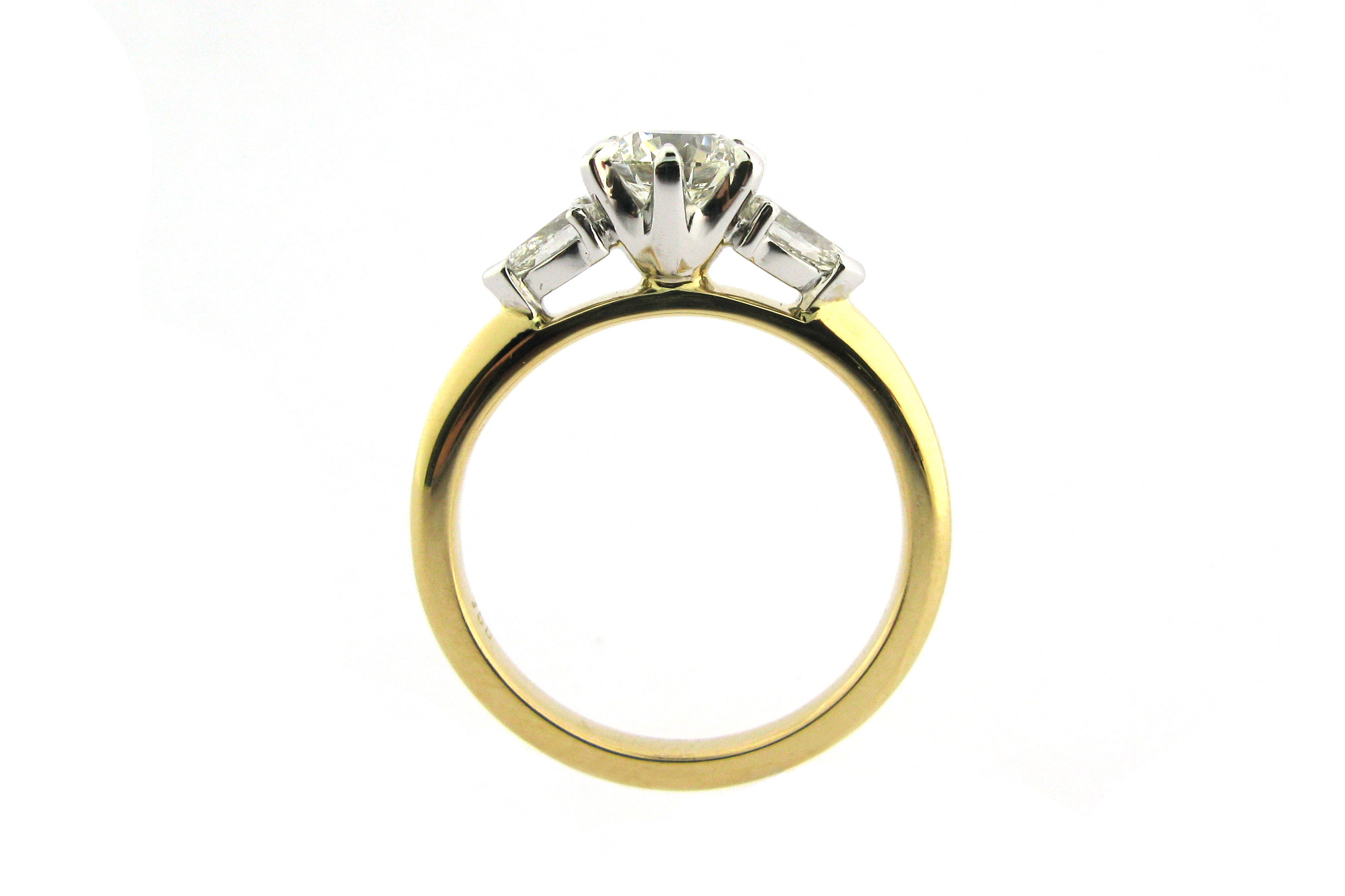 Round Brilliant Cut Diamond Ring With Pear Shaped Side With Round Brilliant Engagement Rings With Pear Shaped Side Stones (View 20 of 25)
