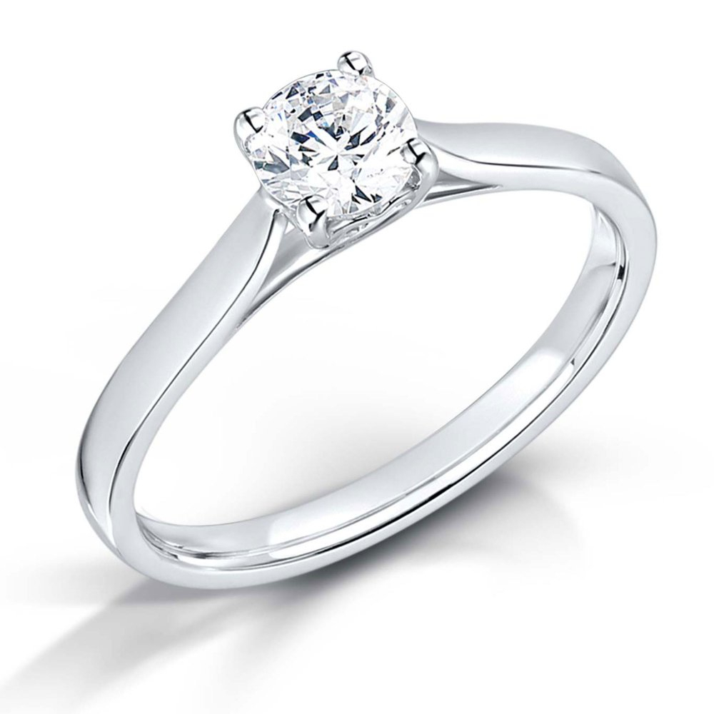 Round Brilliant Cut Diamond Solitaire Engagement Ring – (View 9 of 25)