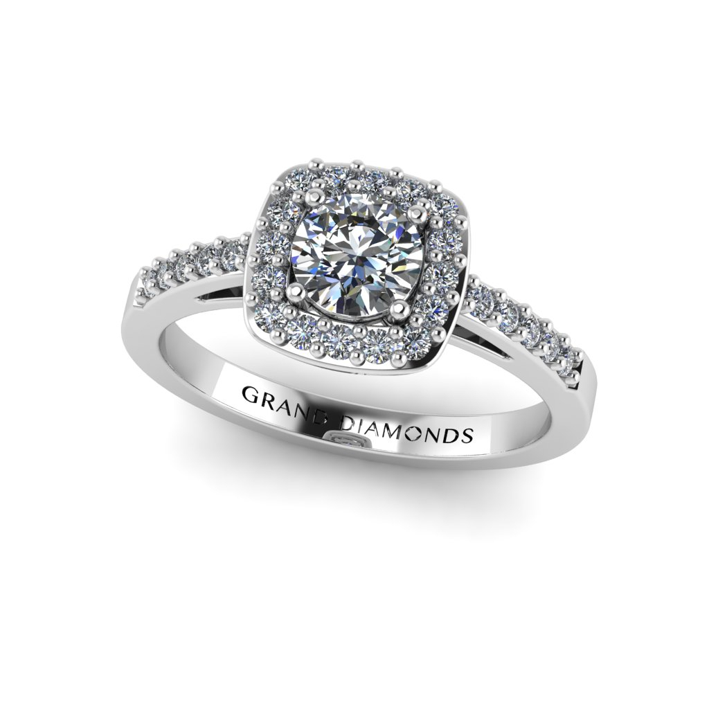 Round Brilliant Diamond Set In Cushion Micro Pavé Halo Regarding Round Brilliant Diamond Micropavé Engagement Rings (View 14 of 25)
