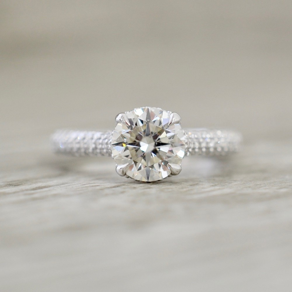 Round Brilliant In A Micro Pavé Hidden Halo Engagement Ring In White For Round Brilliant Diamond Micropavé Engagement Rings (Gallery 2 of 25)