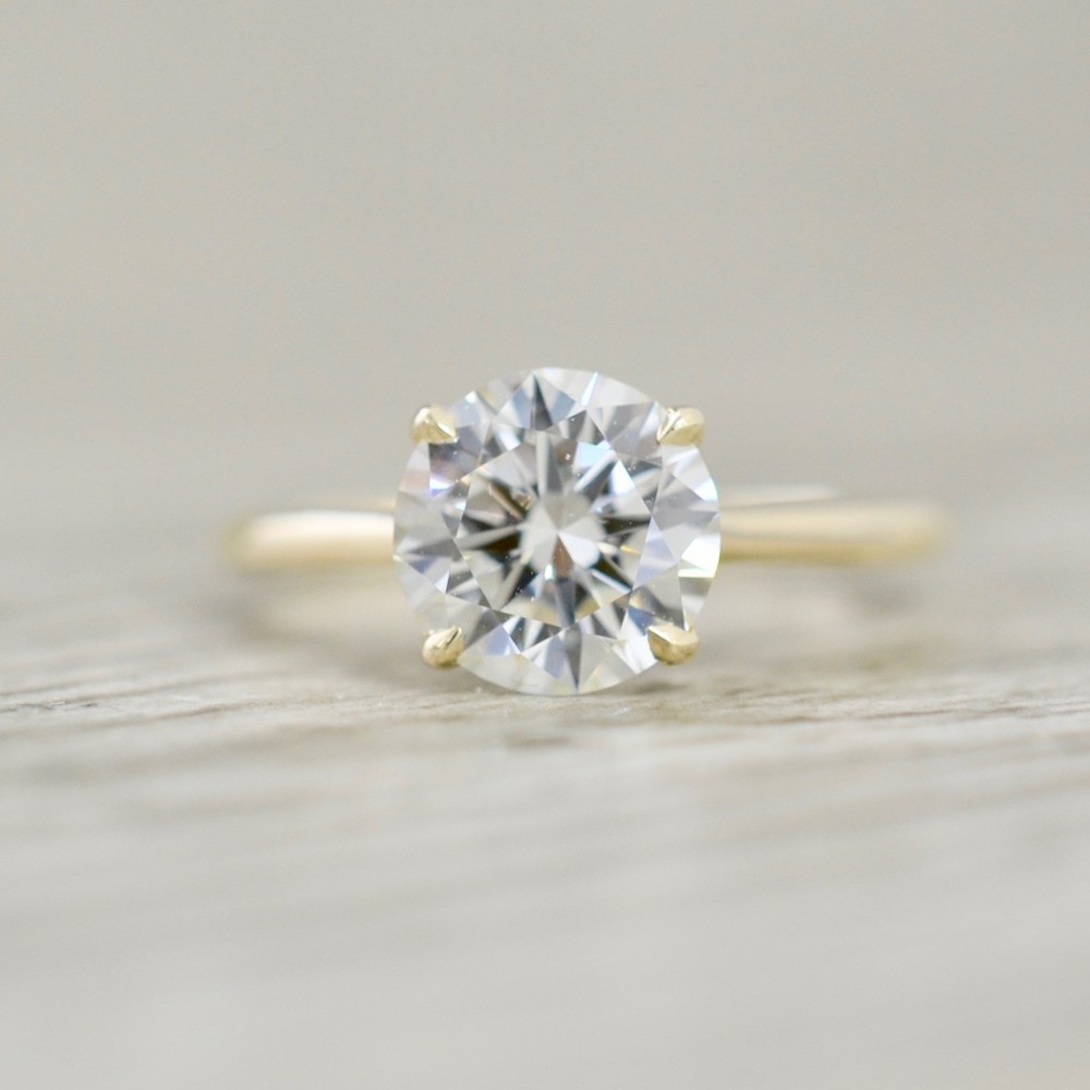 Round Brilliant In A Open Cathedral Solitaire Engagement Ring In Yellow In Solitaire Round Brilliant Engagement Rings (View 11 of 25)