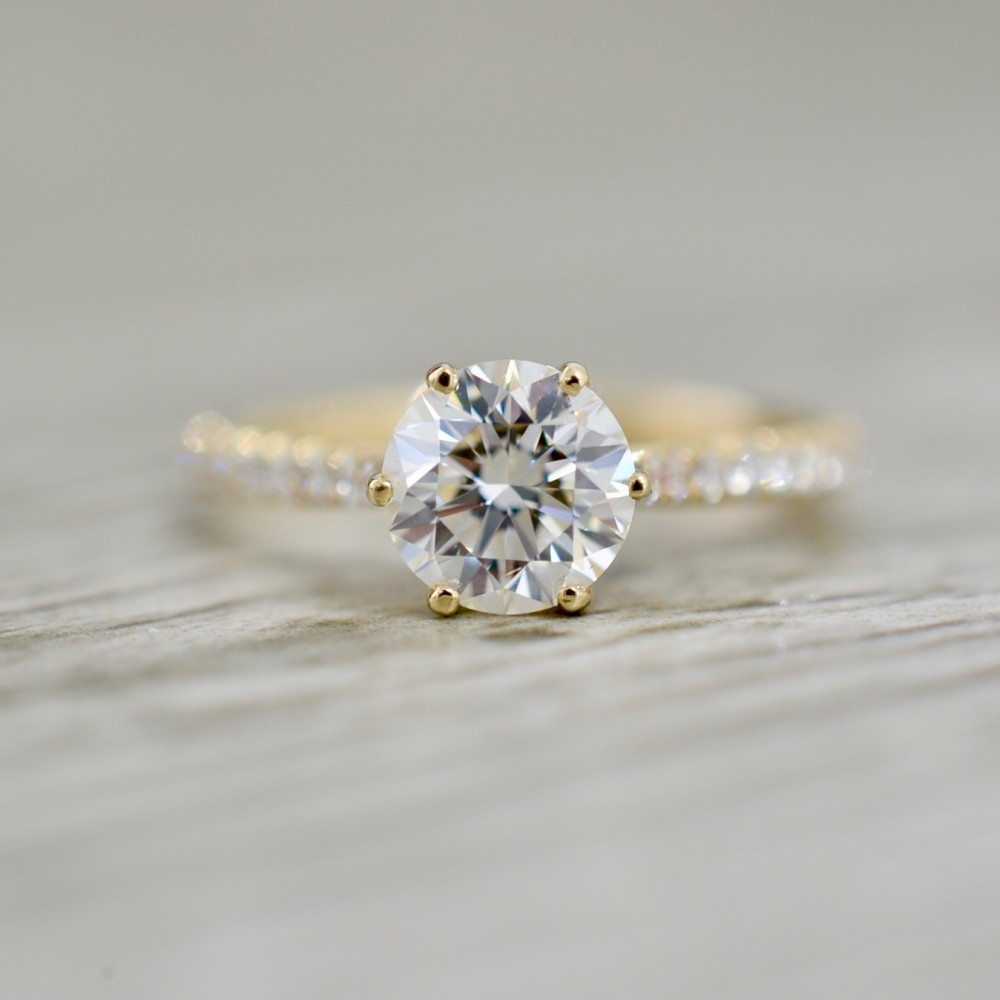 Round Brilliant In A Tulip Head French Pavé Engagement Ring In Yellow Pertaining To Round Brilliant Diamond Micropavé Engagement Rings (Gallery 24 of 25)