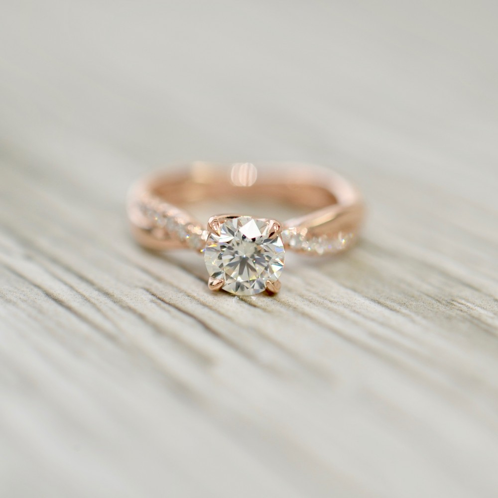 Round Brilliant In An Interwoven Single Diamond Strand French Pavé Engagement Ring In Rose In Best And Newest Round Brilliant Single Diamond Wedding Bands (View 6 of 25)