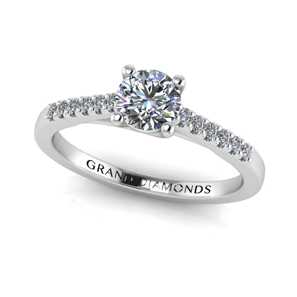 Round Brilliant Micro Pavé Ring Intended For Round Brilliant Diamond Micropavé Engagement Rings (View 18 of 25)