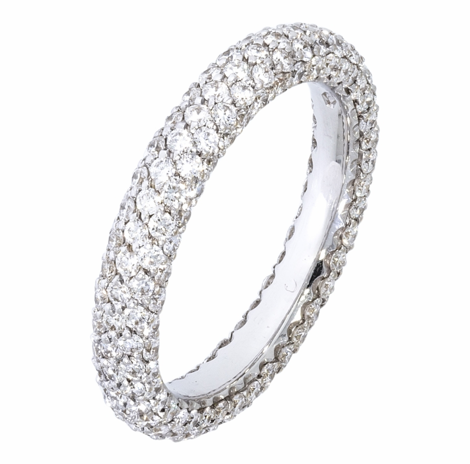 Round Brilliant Pave Diamond Wedding Band – Tam Tur Yüzük Intended For Latest Vertical Diamond Row Wedding Bands (Gallery 19 of 25)