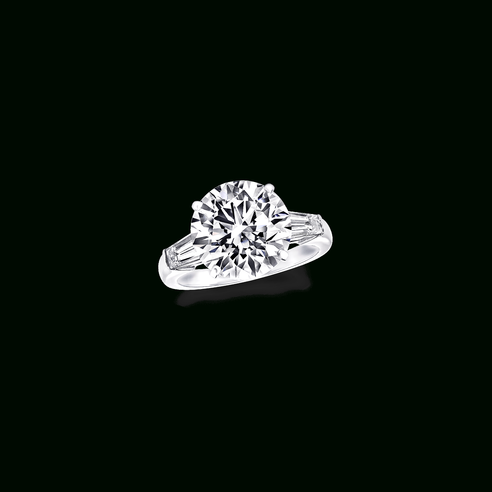 Round Diamond Ring, Baguette Side Stones | Classic Graff | Graff For Emerald Cut Engagement Rings With Tapered Baguette Side Stones (View 22 of 25)
