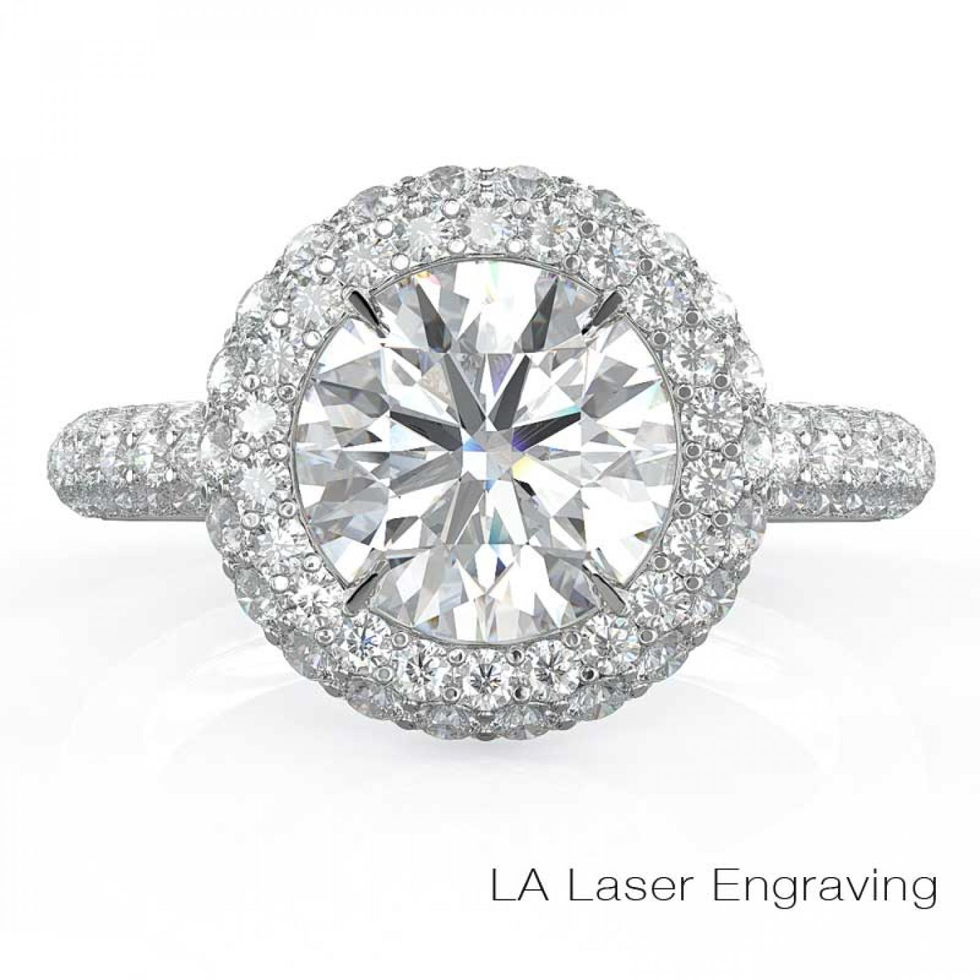 Round Engagement Diamond Halo Ring With Three Row Micro Pave Setting (View 14 of 25)