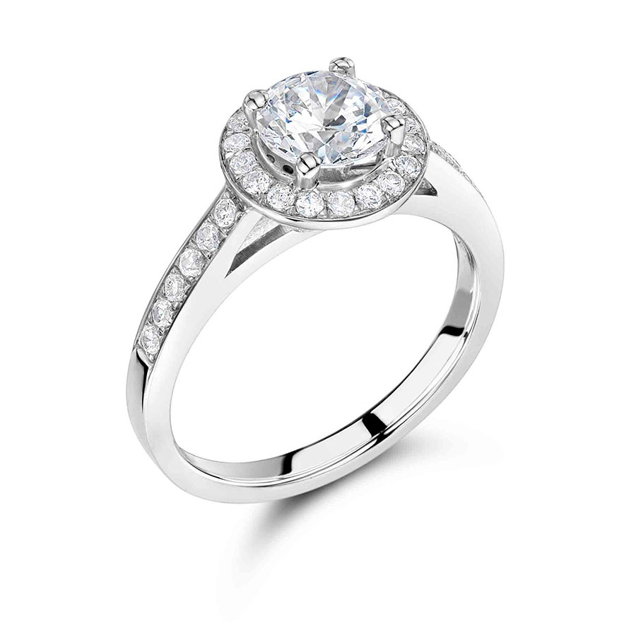 Round Halo Brilliant Pave Set Diamond Engagement Ring Er 2268 Intended For Round Brilliant Diamond Micropavé Engagement Rings (View 14 of 25)