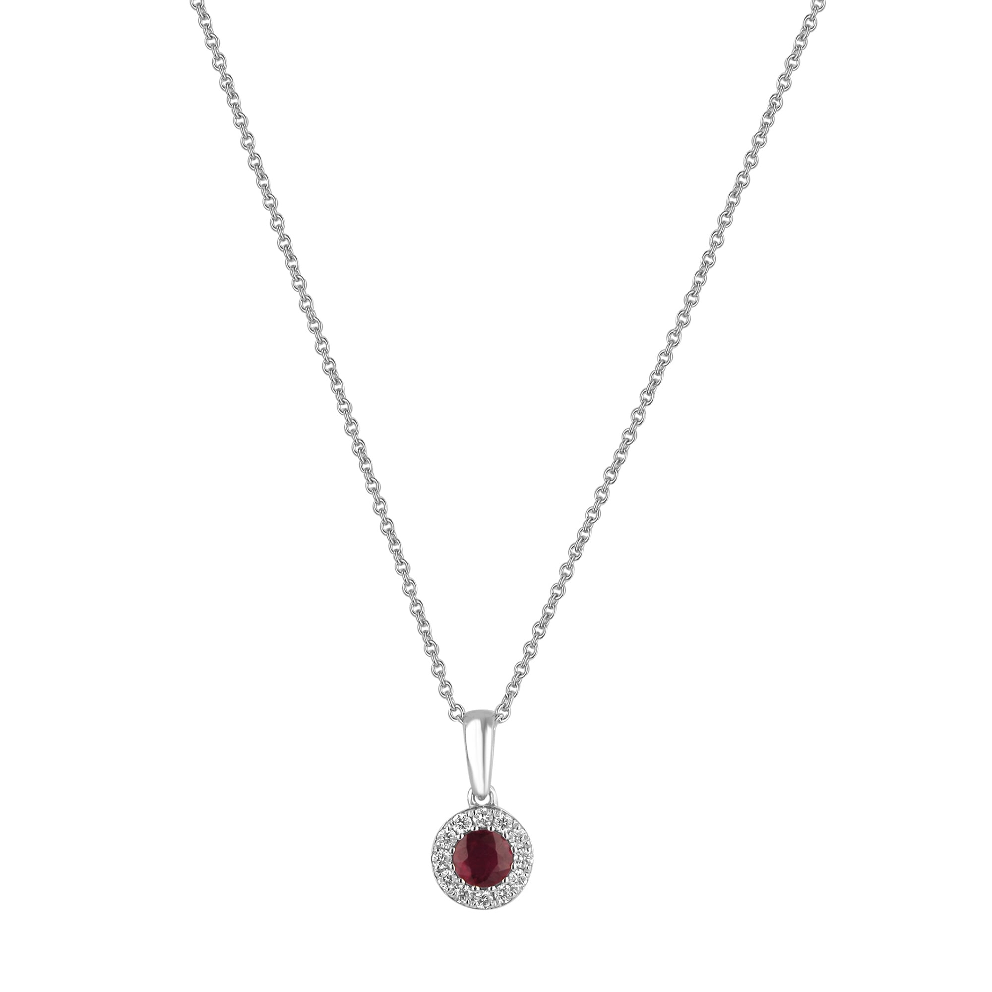 Round Ruby And Diamond Cluster Necklace With Regard To Recent Ruby And Diamond Cluster Necklaces (View 19 of 25)