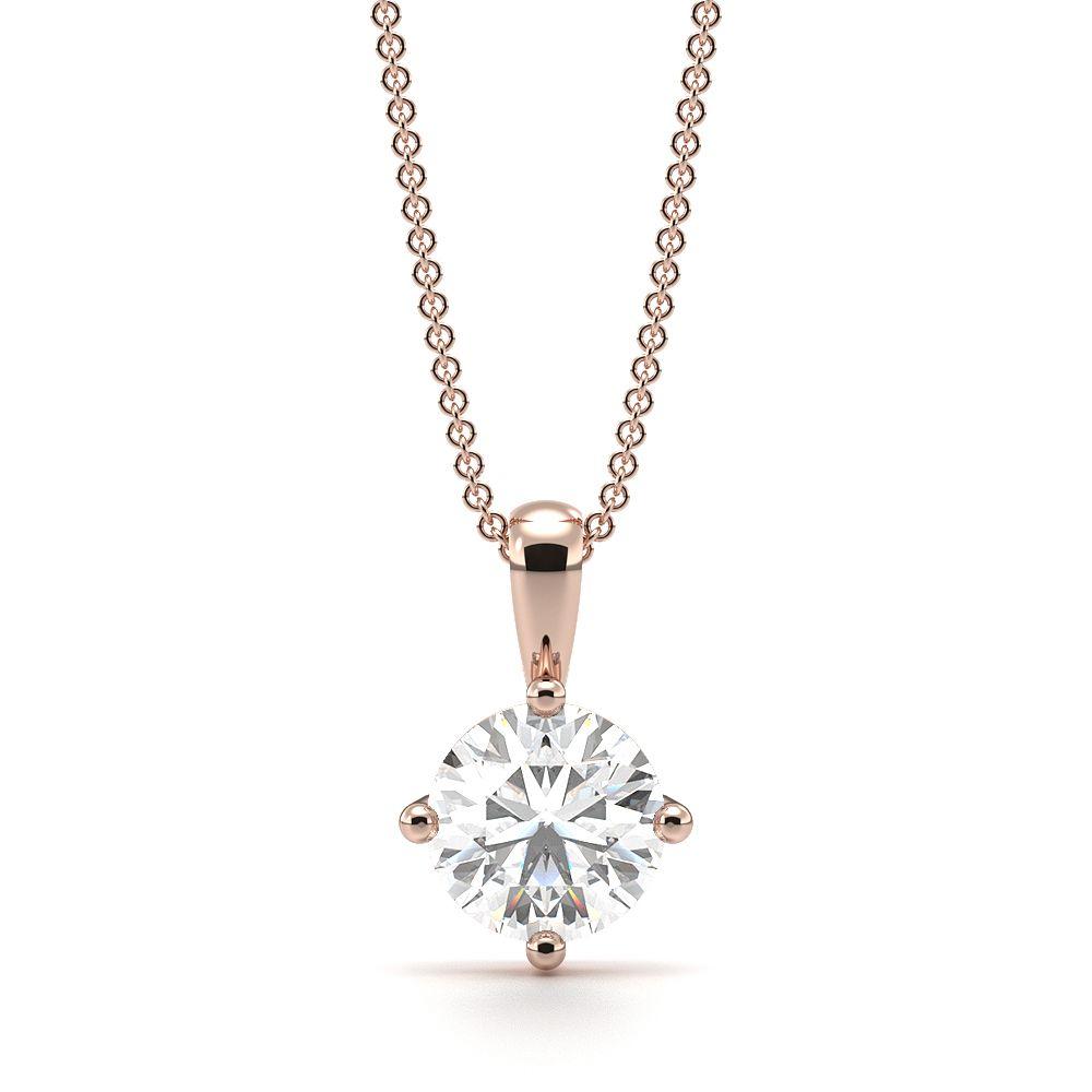Round Solitaire Diamond Pendant White Gold / Platinum – Abelini Uk Regarding Recent Diamond Necklaces In Platinum (Gallery 24 of 25)