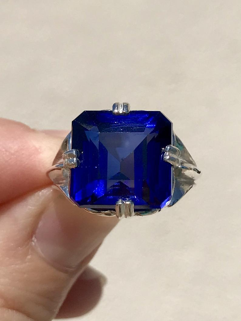 Royal Blue Sapphire Ring ~ Cushion Cut Sapphire Engagement Anniversary  Ring, Square Gemstone Ring Sterling Silver, Crazy Rich Asian Jewelry With Cushion Cut Sapphire Rings (View 23 of 25)