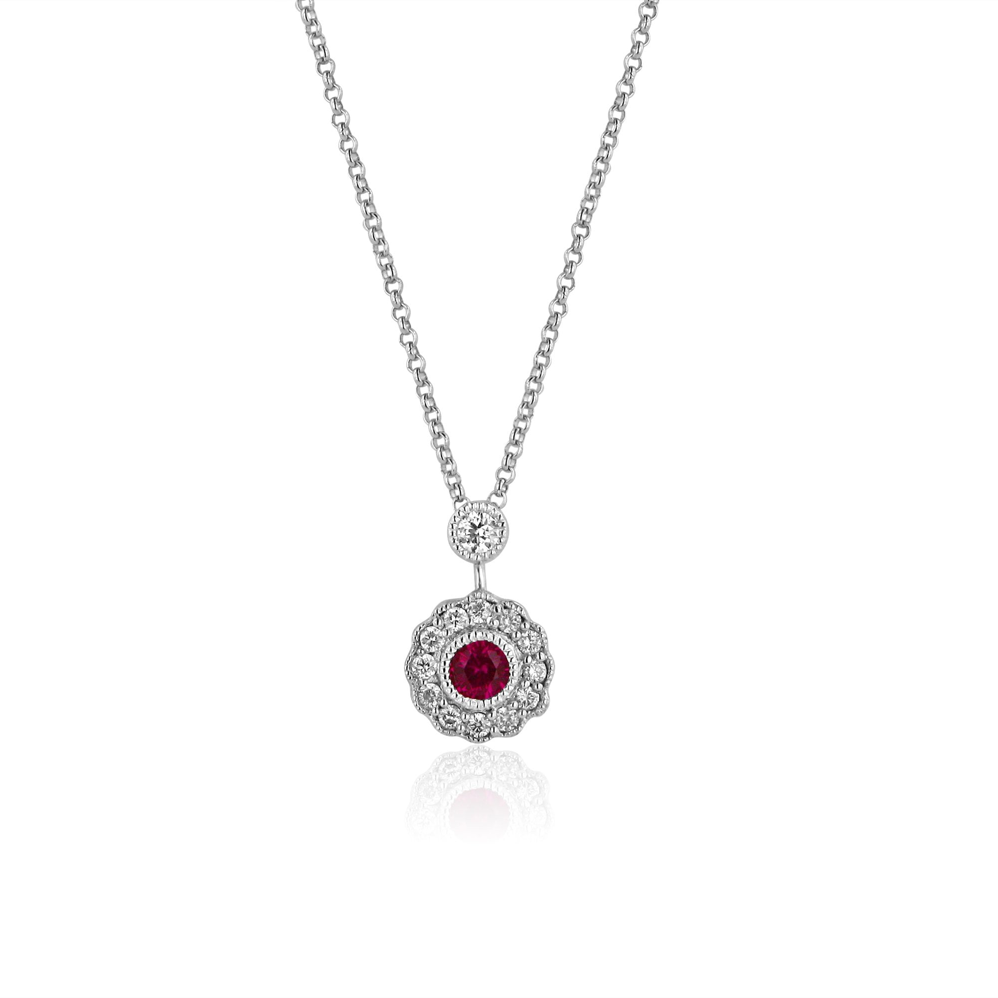 Ruby And Diamond Cluster Pendant And Chain Inside Most Up To Date Ruby And Diamond Cluster Necklaces (View 14 of 25)