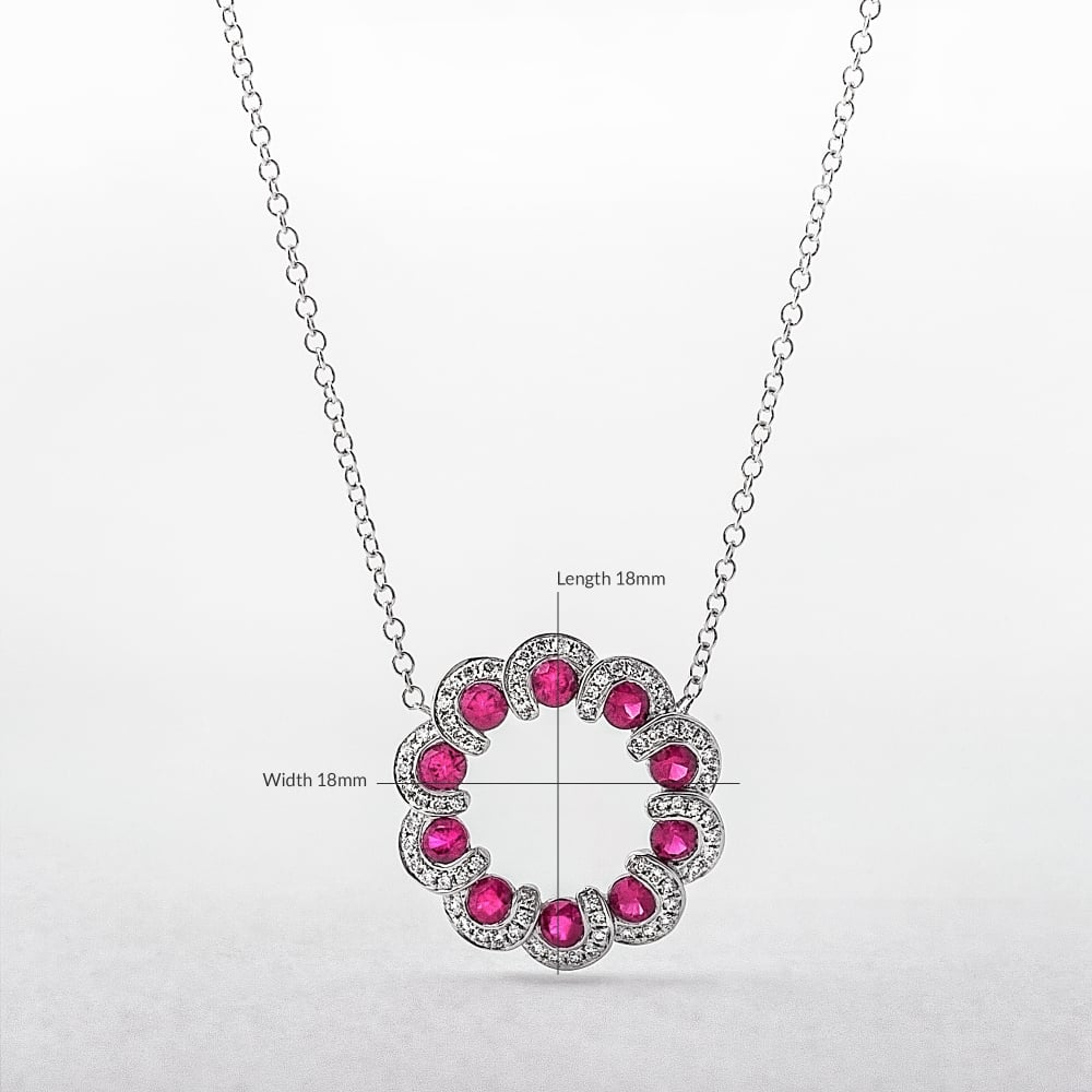 Ruby And Diamond Wreath Style Circle Pendant In White Gold Intended For Latest Diamond Wreath Necklaces (View 10 of 25)