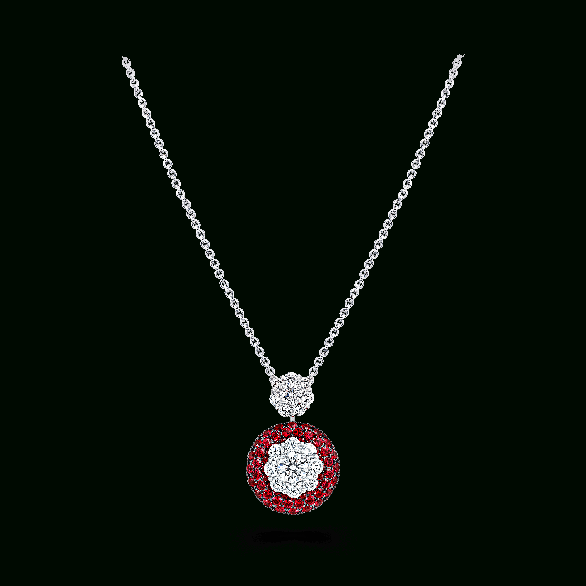 Ruby & Diamond Cluster Pendant | Bombé Halo Jewellery | Graff Throughout Newest Ruby And Diamond Cluster Necklaces (Gallery 19 of 25)
