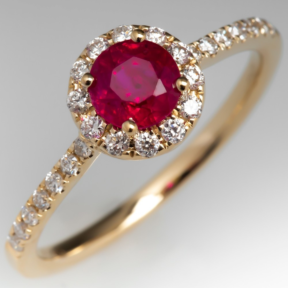 Ruby & Diamond Halo Engagement Ring 14K Gold Throughout Current Prong Set Round Brilliant Ruby And Diamond Wedding Bands (Gallery 19 of 25)