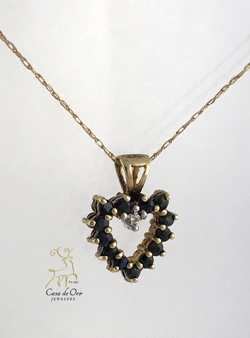 Sapphire, Ruby & Diamond Heart 10Ky Throughout 2019 Reversible Diamond, Sapphire And Aquamarine Pendant Necklaces (Gallery 23 of 25)
