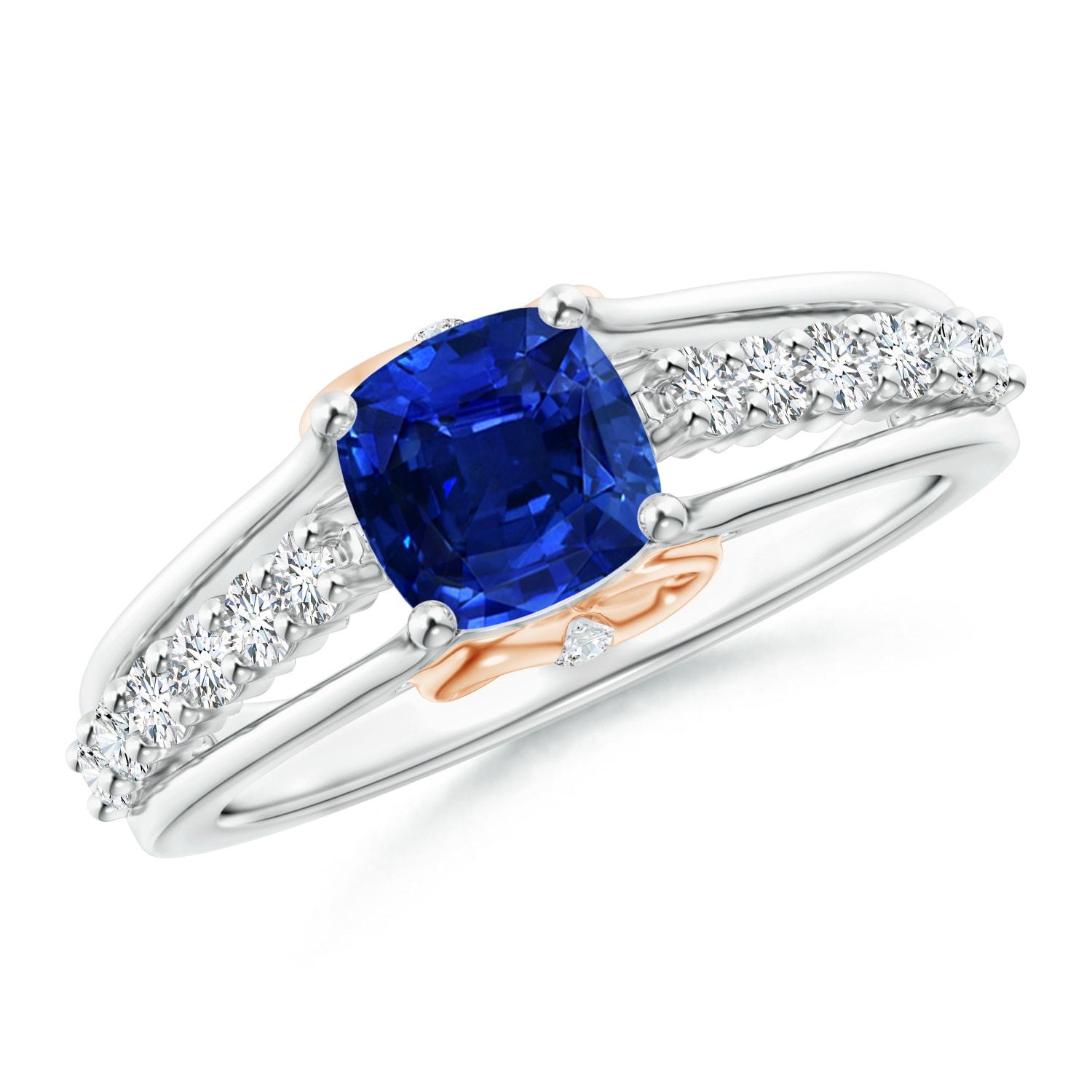 September Birthstone Ring – Triple Shank Cushion Cut Sapphire Ring In Two  Tone In Platinum (6Mm Blue Sapphire) – Sr0629S Pt Aaaa 6 8 Pertaining To Cushion Cut Sapphire Rings (View 24 of 25)