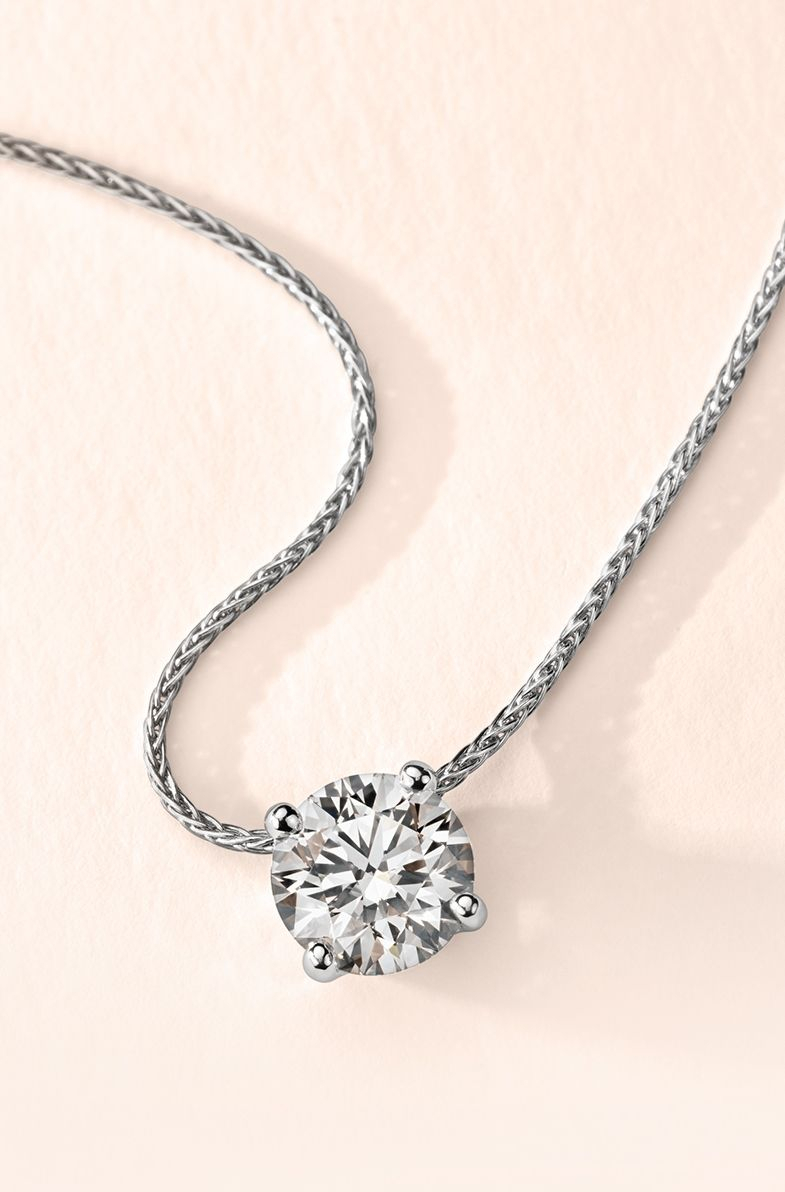 Signature Floating Diamond Solitaire Pendant In Platinum For Most Current Diamond Necklaces In Platinum (View 7 of 25)