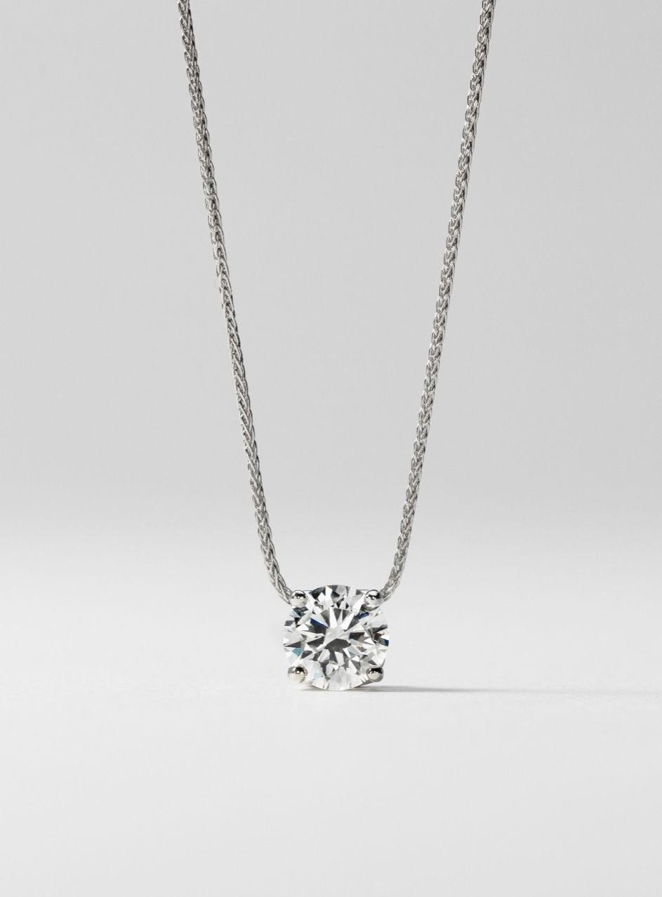 Signature Floating Diamond Solitaire Pendant In Platinum Within Current Diamond Necklaces In Platinum (View 5 of 25)