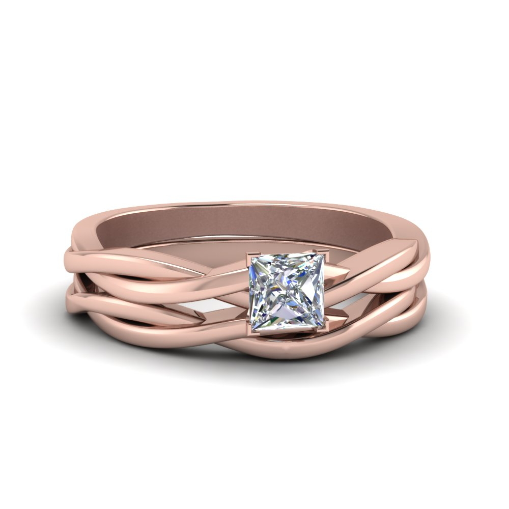 Simple Vine Solitaire Bridal Ring Set Regarding Most Current Princess Cut Single Diamond Wedding Bands In Rose Gold (View 23 of 25)