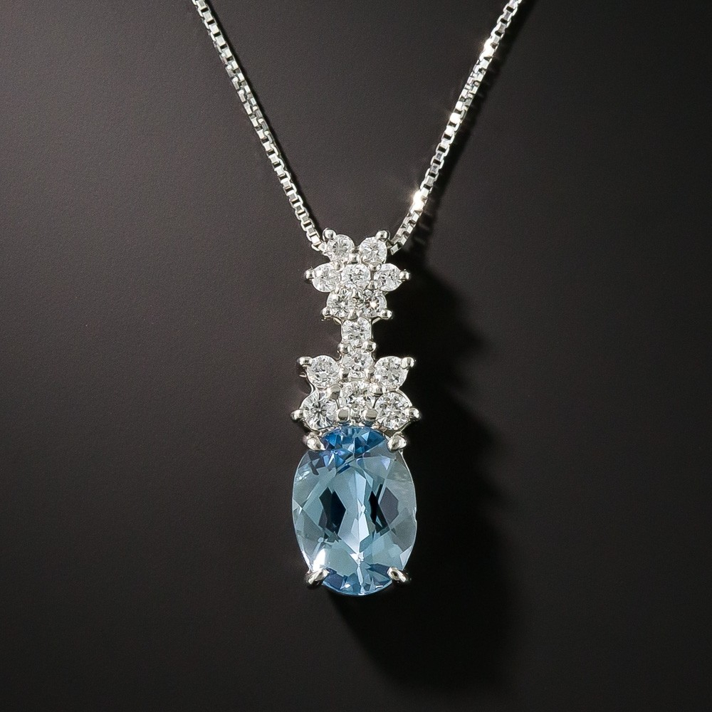 Small Aquamarine Platinum And Diamond Pendant For Best And Newest Sapphire, Aquamarine And Diamond Necklaces (View 22 of 25)