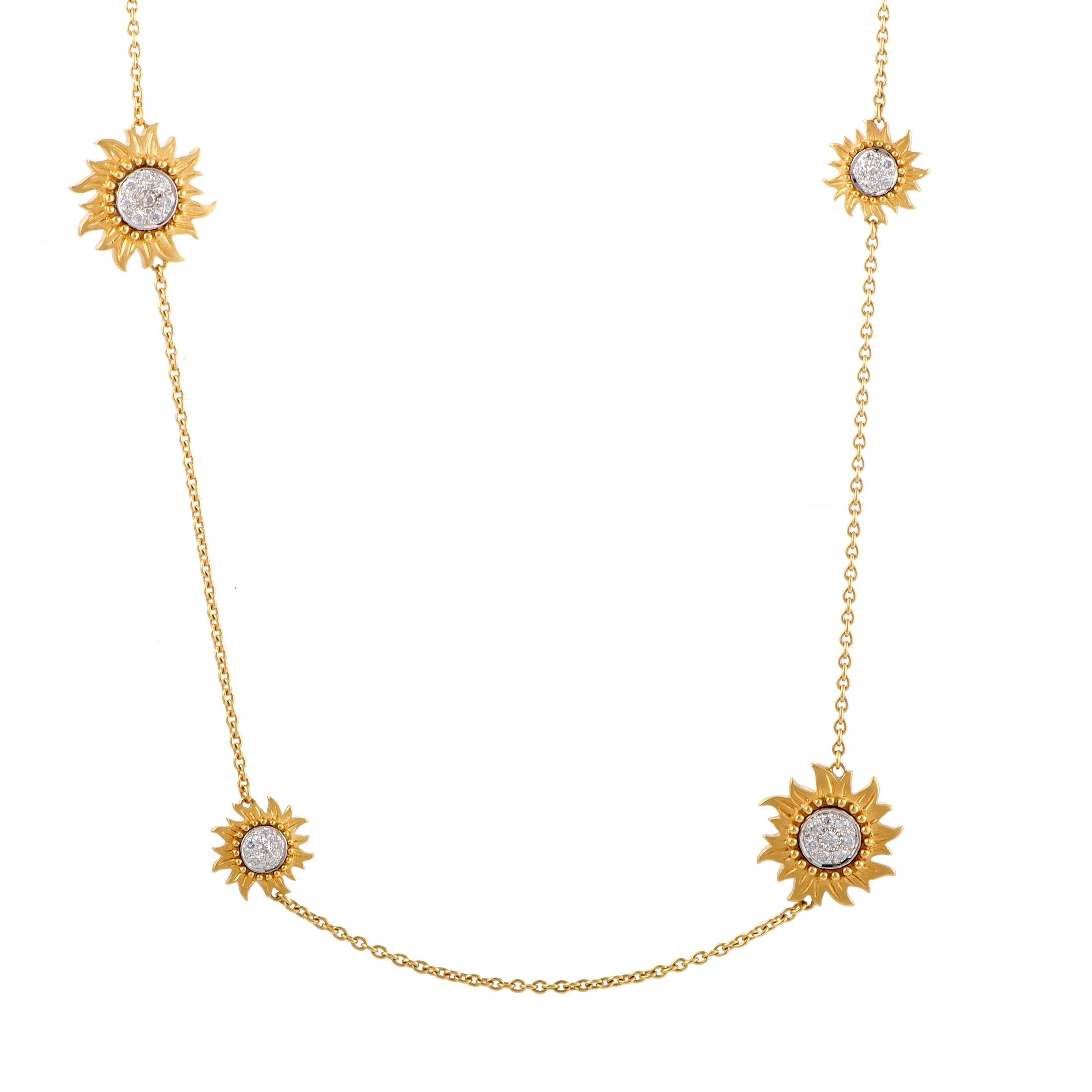 Sol Y Sombra Yellow And White Gold Diamond Pave Sautoir Necklace Throughout Newest Diamond Sautoir Necklaces In Yellow Gold (View 25 of 25)