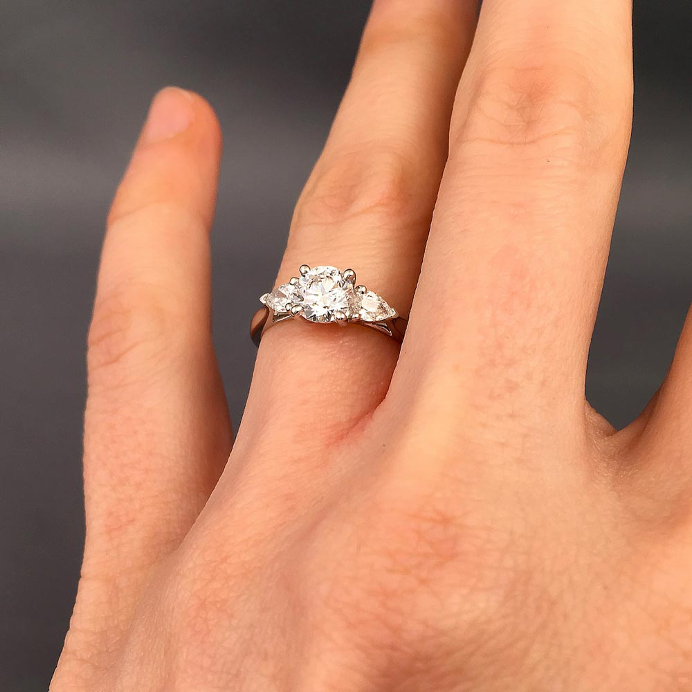 Sophie Trilogy Diamond Engagement Ring | Daniel Christopher Pertaining To Round Brilliant Engagement Rings With Pear Shaped Side Stones (Gallery 9 of 25)